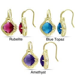 Miadora 18k Gold Overlay Synthetic Gemstone Earrings