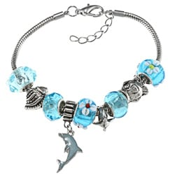 La Preciosa Silverplated Blue Bead and Dolphin Charm Pandora-style Bracelet