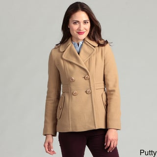 Kenneth Cole New York Women's Notch Lapel Side Tab Pea Coat