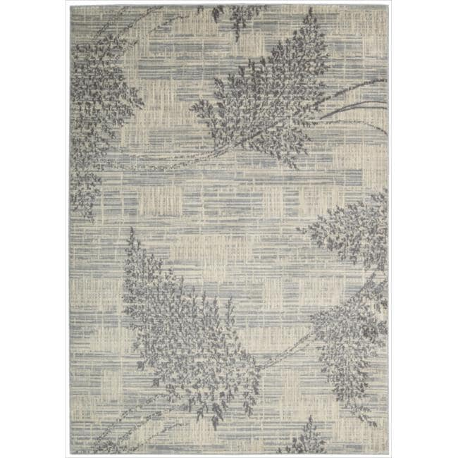 Nourison Utopia Ivory Leaf Abstract Rug (7'9 x 10'10)