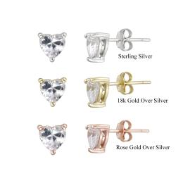 Icz Stonez Sterling Silver Heart-cut Cubic Zirconia Stud Earrings (2 1/2ct TGW)
