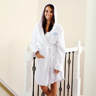 Personalized Plush Fleece Hooded Spa Robe with Dual-pocket Design