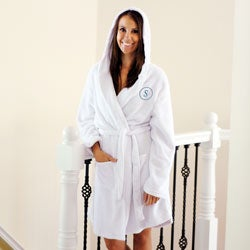Monogrammed Lightweight Fleece Hooded Spa Robe