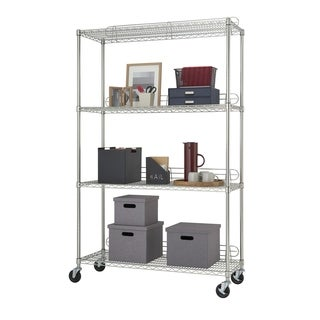Trinity EcoStorage 4-tier NSF Wire Shelving Rack with Wheels