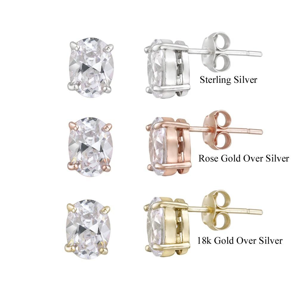 Icz Stonez Sterling Silver Cubic Zirconia Oval Stud Earrings (4 1/8ct TGW)