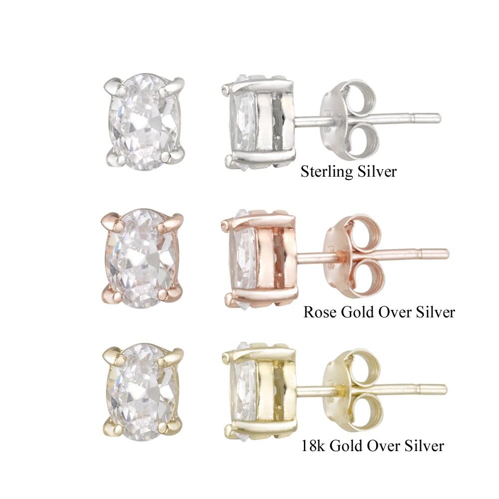 Icz Stonez Sterling Silver Cubic Zirconia Oval Stud Earrings (2 3/5ct TGW)
