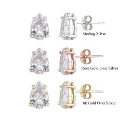 Icz Stonez Sterling Silver Pear-cut Cubic Zirconia Stud Earrings (6 1/8ct TGW)