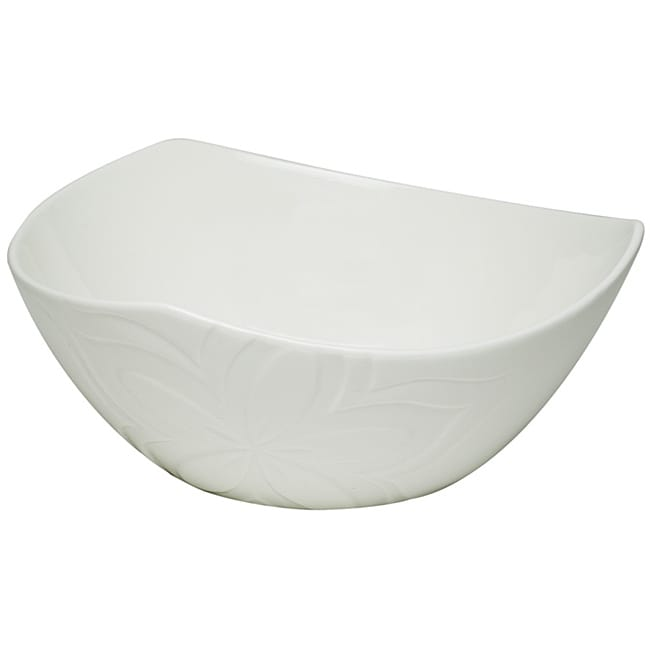 Red Vanilla Clematis White Porcelain Salad bowls (Set of 4)
