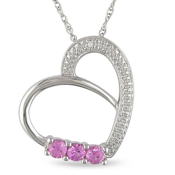 Miadora 10k Gold 1/3ct TGW Pink Sapphire and Diamond Accent Heart Necklace