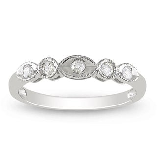 Miadora 10k White Gold 1/6ct TDW Round-cut Diamond 5-stone Ring (H-I, I2-I3)