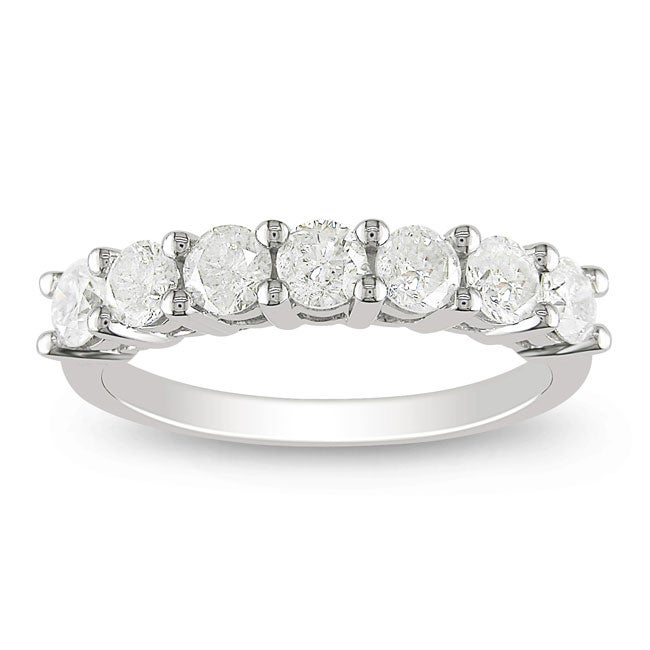 Miadora 10k White Gold 1ct TDW Diamond Anniversary Ring (H-I, I2-I3)