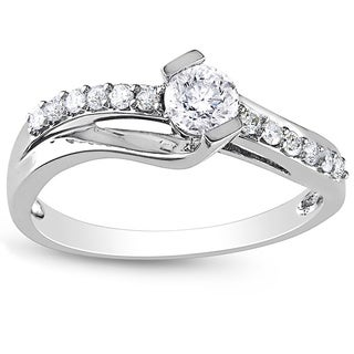 Miadora 10k White Gold 1/2ct TDW Diamond Engagement Ring (H-I, I2-I3)