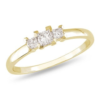 Miadora 10k Yellow Gold 1/4ct TDW Princess Diamond 3-stone Ring (H-I, I2-I3) with Bonus Earrings