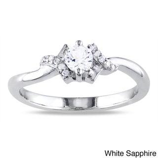 Miadora Sterling Silver 1/3ct TGW Created White Sapphire and Diamond Accent Ring