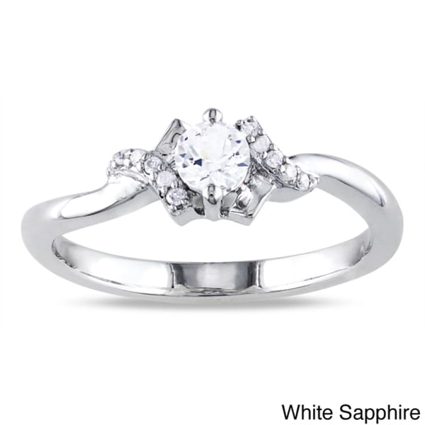 Miadora Sterling Silver 1/3ct TGW Created White Sapphire and Diamond Accent Ring