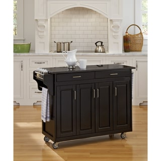 'Create-a-Cart' Black Finish Black Granite Top Cart