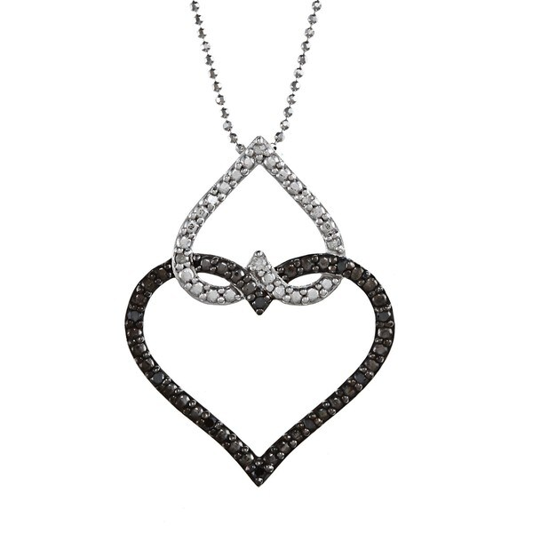 Silver 1/6ct TDW White and Black Diamond Heart Necklace (J-K, I2-I3)