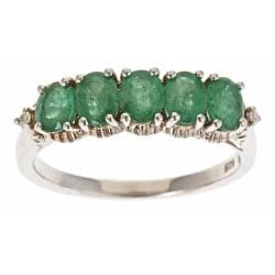 D'Yach Sterling Silver Zambian Emerald and Diamond Accent Ring