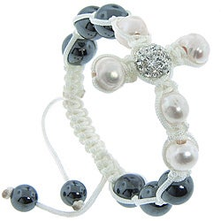 Eternally Haute Hematite, FW Pearl and Czech Crystal Macrame Cross Bracelet (9-10 mm)