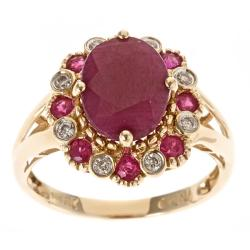 D'Yach 14k Yellow Gold Indian Ruby and 1/8ct TDW Diamond Ring (G-H, I1-I2)