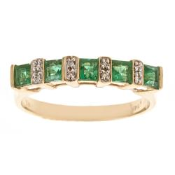 D'Yach 14k Gold Zambian Emerald and Diamond Accent Ring