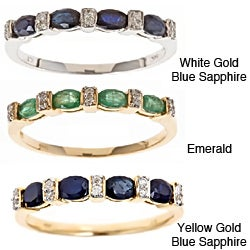D'Yach 14k White Gold Blue Sapphire/ Zambian Emerald and Diamond Ring