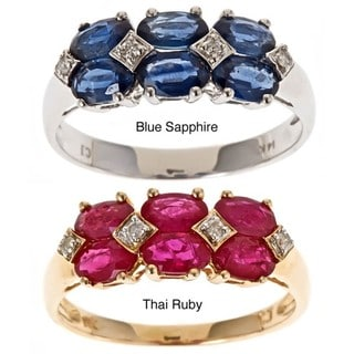 D'Yach 14k Gold Thai Ruby/ Blue Sapphire and Diamond Ring