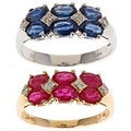 Anika and August D'Yach 14k Gold Thai Ruby/ Blue Sapphire and Diamond Ring