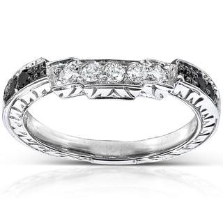 Annello 14k Gold 1/4ct TDW Black and White Diamond Curved Wedding Band (H-I, I1-I2)