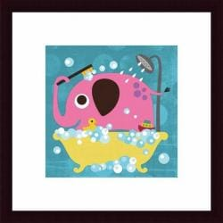 Nancy Lee 'Elephant in Bathtub' Framed Print