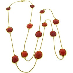 Eternally Haute 18k Gold over Silver Handmade Red Agate Station 38-inch Necklace