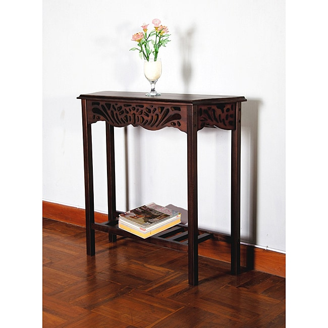 Solid mahogany wood entry wall console sofa table for Entry wall table
