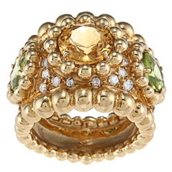 18k Gold Topaz, Peridot and 1 1/4ct TDW Diamond Estate Ring (E-F, VS1-VS2)