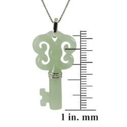 Gems For You Sterling Silver Green Jade Key Necklace