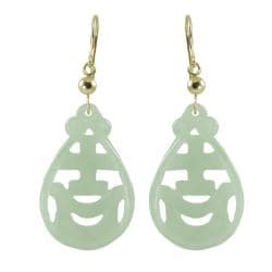 Gems For You 14k Yellow Gold Carved Jade Dangle Earrings