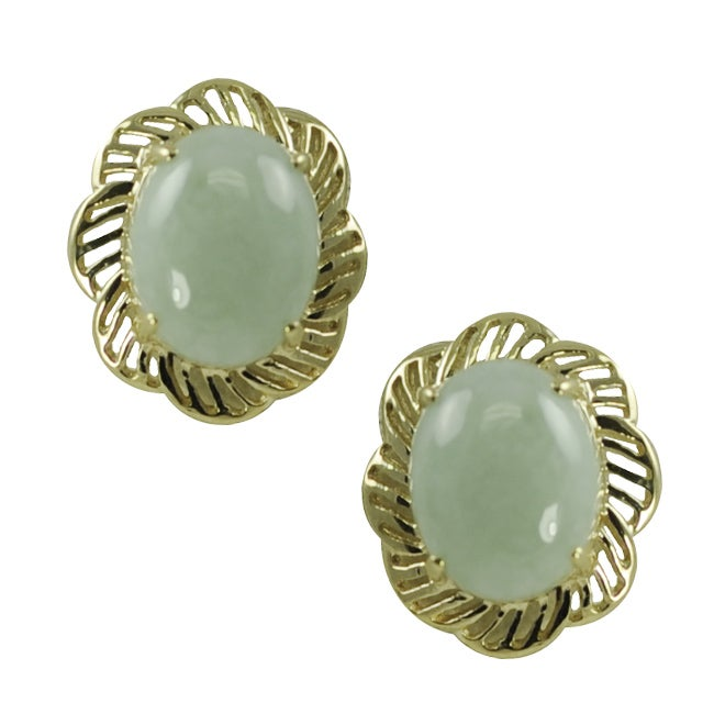 Gems For You 10k Yellow Gold Oval Jade Earrings
