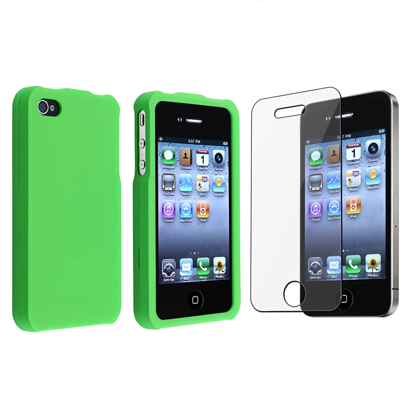 BasAcc Light Green Snap-on Case/ Screen Protector for Apple iPhone 4