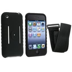 INSTEN Black Soft Silicone Phone Case Cover/ Armband for Apple iPhone 3G/ 3GS