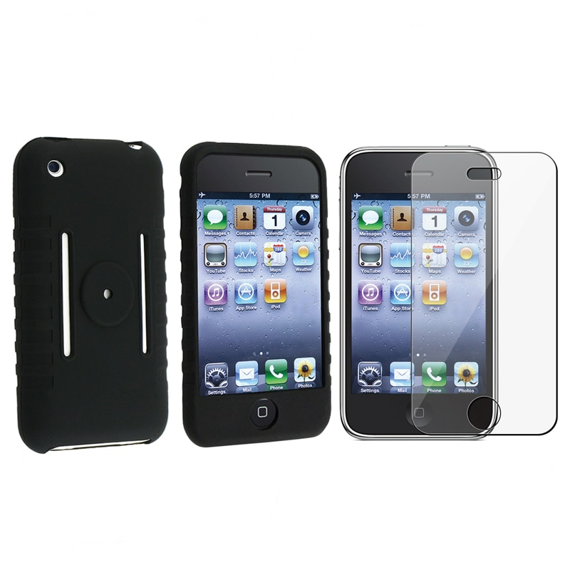 INSTEN Soft Silicone Skin Phone Case Cover/ Screen Protector for Apple iPhone 1st Gen