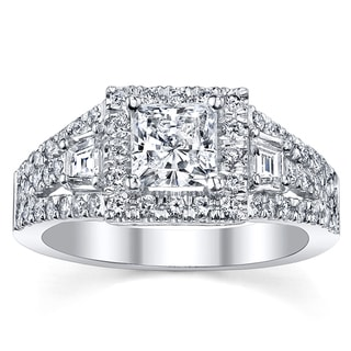 18k White Gold Certified 1 7/8ct TDW Princess Diamond Engagement Ring