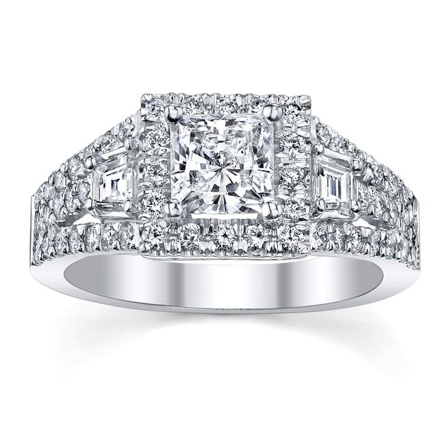 18k White Gold Certified 1 1/6ct TDW Princess Diamond Engagement Ring