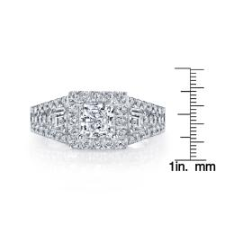 18k White Gold Certified 1 1/6ct TDW Princess Diamond Engagement Ring