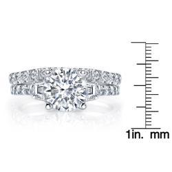 18k White Gold 1 3/4ct TDW Round Three Stone Diamond Bridal Set (I, SI3)