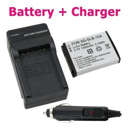 BasAcc Battery/ Compact Battery Charger for Samsung SLB-10A