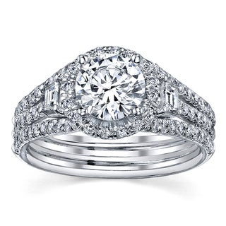 18k White Gold Certified 1 4/5ct TDW Round Diamond Engagement Ring