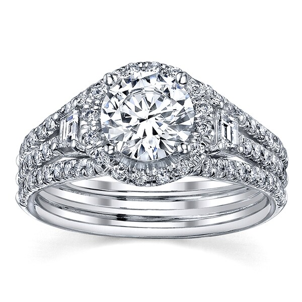 18k White Gold Certified 1 4/5ct TDW Round Diamond Engagement Ring