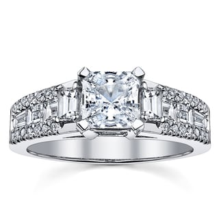 18k White Gold Certified 1 1/6ct TDW Radiant Cut Diamond Engagement Ring