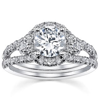 18k White Gold Ceritfied 1 2/5ct TDW Round Diamond Ring