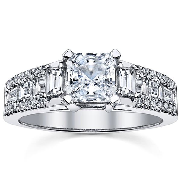 18k White Gold Certified 2ct TDW Radiant Cut Diamond Engagement Ring