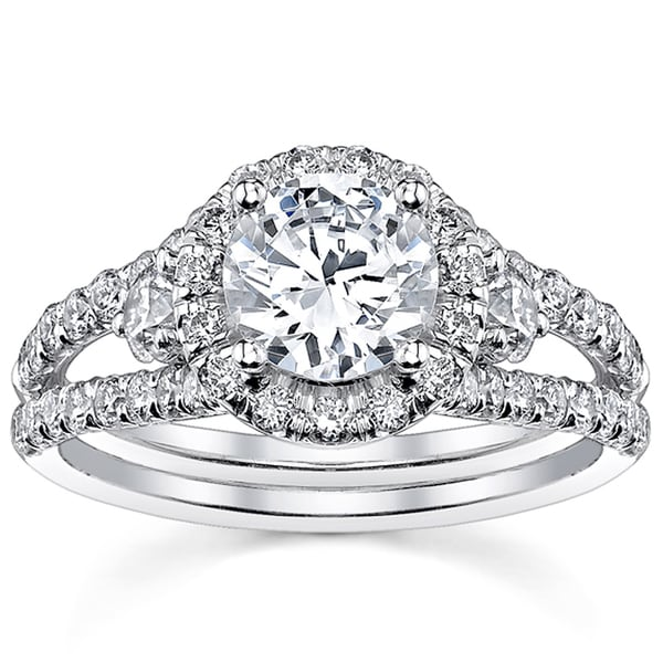 18k White Gold 2ct TDW Round Split Shank Halo Diamond Engagement Ring (H-I, SI2-SI3)